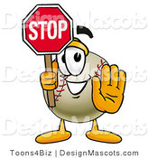 Stock Vector Mascot Cartoon of a Baseball Mascot Holding a Stop Sign by Toons4Biz