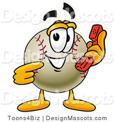 Stock Vector Mascot Cartoon of a Baseball Mascot Holding a Telephone by Toons4Biz