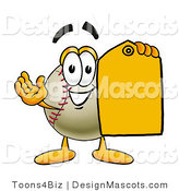 Stock Vector Mascot Cartoon of a Baseball Mascot Holding a Yellow Sales Price Tag by Toons4Biz