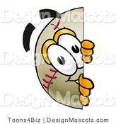 Stock Vector Mascot Cartoon of a Baseball Mascot Peeking Around a Corner by Toons4Biz