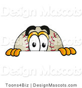 Stock Vector Mascot Cartoon of a Baseball Mascot Peeking over a Surface by Toons4Biz