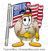 Stock Vector Mascot Cartoon of a Baseball Mascot Pledging Allegiance to an American Flag by Toons4Biz