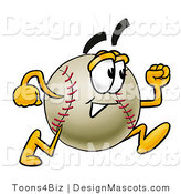 Stock Vector Mascot Cartoon of a Baseball Mascot Running by Toons4Biz