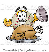 Stock Vector Mascot Cartoon of a Baseball Mascot Serving a Thanksgiving Turkey on a Platter by Toons4Biz