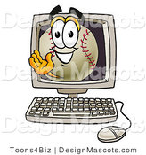 Stock Vector Mascot Cartoon of a Baseball Mascot Waving from Inside a Computer Screen by Toons4Biz