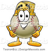 Stock Vector Mascot Cartoon of a Baseball Mascot Wearing a Helmet by Toons4Biz