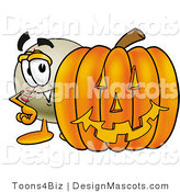 Stock Vector Mascot Cartoon of a Baseball Mascot with a Carved Halloween Pumpkin by Toons4Biz