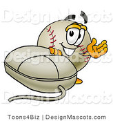 Stock Vector Mascot Cartoon of a Baseball Mascot with a Computer Mouse by Toons4Biz