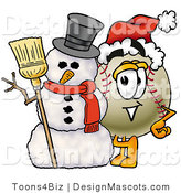 Stock Vector Mascot Cartoon of a Baseball Mascot with a Snowman on Christmas by Toons4Biz