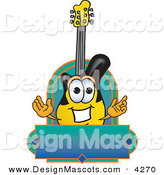 Stock Vector Mascot Cartoon of a Black and Yellow Guitar Mascot Cartoon Character by Toons4Biz