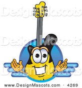 Stock Vector Mascot Cartoon of a Black and Yellow Guitar Mascot Cartoon Character Logo with a Circle and Lines by Toons4Biz