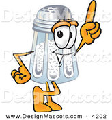 Stock Vector Mascot Cartoon of a Cheerful and Helpful Salt Shaker Mascot Cartoon Character Pointing Upwards by Toons4Biz