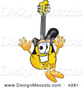 Stock Vector Mascot Cartoon of a Cheerful Guitar Mascot Cartoon Character Jumping by Toons4Biz
