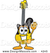 Stock Vector Mascot Cartoon of a Cheerful Guitar Mascot Cartoon Character Waving and Pointing by Toons4Biz