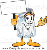 Stock Vector Mascot Cartoon of a Cheerful Salt Shaker Mascot Cartoon Character Holding a Blank Sign by Toons4Biz