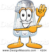 Stock Vector Mascot Cartoon of a Cheerful Salt Shaker Mascot Cartoon Character Waving and Pointing by Toons4Biz