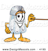 Stock Vector Mascot Cartoon of a Cheerful White Salt Shaker Mascot Cartoon Character Holding a Pointer Stick by Toons4Biz