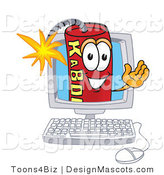 Stock Vector Mascot Cartoon of a Computer Dynamite Mascot by Toons4Biz