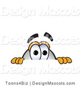 Stock Vector Mascot Cartoon of a Curious Blimp Mascot Cartoon Character Scared and Peeking over a Surface by Toons4Biz
