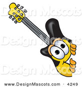Stock Vector Mascot Cartoon of a Curious Guitar Mascot Cartoon Character Peeking Around a Corner by Toons4Biz