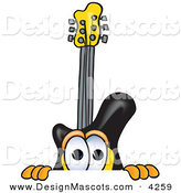 Stock Vector Mascot Cartoon of a Curious Guitar Mascot Cartoon Character Peeking over a Surface by Toons4Biz
