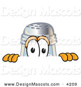 Stock Vector Mascot Cartoon of a Curious Salt Shaker Mascot Cartoon Character Peeking over a Surface by Toons4Biz