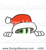 Stock Vector Mascot Cartoon of a Curious Santa Claus Mascot Cartoon Character Peeking over a Surface by Toons4Biz