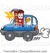 Stock Vector Mascot Cartoon of a Driving Dynamite Mascot by Toons4Biz