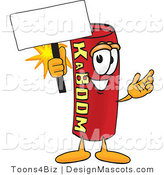 Stock Vector Mascot Cartoon of a Dynamite Mascot Holding a Sign by Toons4Biz