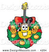 Stock Vector Mascot Cartoon of a Festive Guitar Mascot Cartoon Character in the Center of a Christmas Wreath by Toons4Biz