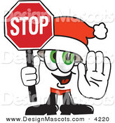 Stock Vector Mascot Cartoon of a Festive Santa Claus Mascot Cartoon Character Holding a Stop Sign by Toons4Biz