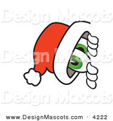 Stock Vector Mascot Cartoon of a Festive Santa Claus Mascot Cartoon Character Peeking Around a Corner by Toons4Biz