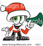 Stock Vector Mascot Cartoon of a Festive Santa Claus Mascot Cartoon Character Screaming into a Megaphone by Toons4Biz
