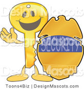 Stock Vector Mascot Cartoon of a Golden Key Mascot Character with a Security Badge by Toons4Biz
