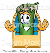 Stock Vector Mascot Cartoon of a Green Carpet Mascot Cartoon Character with a Rectangular Blank Tan Label by Toons4Biz