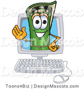 Stock Vector Mascot Cartoon of a Green Carpet Waving in a Computer Screen by Toons4Biz