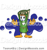 Stock Vector Mascot Cartoon of a Green Rug Mascot Cartoon Character with a Blue Splatter by Toons4Biz
