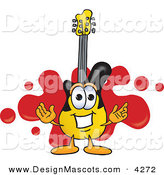 Stock Vector Mascot Cartoon of a Grinning Guitar Mascot Cartoon Character Logo with a Red Paint Splatter by Toons4Biz