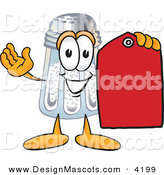 Stock Vector Mascot Cartoon of a Grinning Salt Shaker Mascot Cartoon Character Holding a Red Sales Price Tag by Toons4Biz