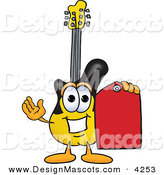 Stock Vector Mascot Cartoon of a Guitar Mascot Cartoon Character Holding a Red Sales Price Tag on White by Toons4Biz