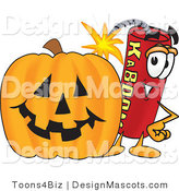 Stock Vector Mascot Cartoon of a Halloween Dynamite Mascot by Toons4Biz