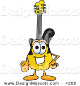 Stock Vector Mascot Cartoon of a Happy Guitar Mascot Cartoon Character Pointing at the Viewer by Toons4Biz