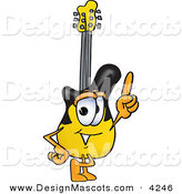 Stock Vector Mascot Cartoon of a Happy Guitar Mascot Cartoon Character Pointing Upwards by Toons4Biz