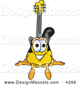 Stock Vector Mascot Cartoon of a Happy Guitar Mascot Cartoon Character Sitting by Toons4Biz