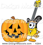 Stock Vector Mascot Cartoon of a Happy Guitar Mascot Cartoon Character with a Carved Halloween Pumpkin by Toons4Biz