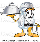Stock Vector Mascot Cartoon of a Happy Salt Shaker Mascot Cartoon Character Dressed As a Waiter and Holding a Serving Platter by Toons4Biz