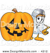 Stock Vector Mascot Cartoon of a Happy Salt Shaker Mascot Cartoon Character with a Carved Halloween Pumpkin by Toons4Biz