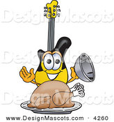 Stock Vector Mascot Cartoon of a Hungry Guitar Mascot Cartoon Character Serving a Thanksgiving Turkey on a Platter by Toons4Biz