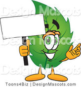Stock Vector Mascot Cartoon of a Leaf Mascot Holding a Blank White Sign by Toons4Biz