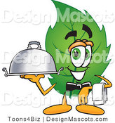 Stock Vector Mascot Cartoon of a Leaf Mascot Holding a Serving Platter by Toons4Biz